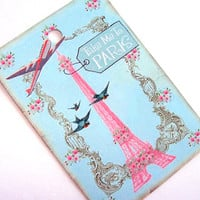 French Blue Tags - Set Of 6 - Pink Eiffel Tower - Pink Airplane - BlueBird Tag - Pink Roses - Cottage Chic - Thank Yous - Gift Tags