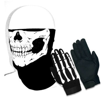 Half Skull Face Mask & Skeleton Mechanic Gloves Combo 2pc Set for Heavy Duty Biker Mechanics Glove and Motorcycle Stretchable Riding Mask