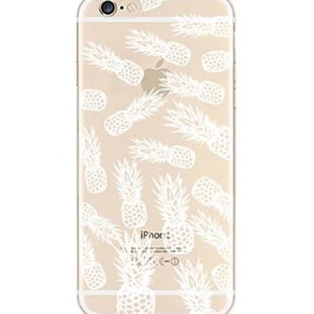 iPhone 5 5S Case, DECO FAIRY® Protective Case Bumper[Scratch-Resistant] [Perfect Fit] Translucent Silicone Clear Case Gel Cover for Apple iPhone 5 5G 5S (White Pineapple Pattern iPhone 6 5 5G 5S