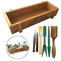 Huouo 8.8 Inches Wood Planter Succulent Container Box with 6 Pcs Mini Garden Planting Hand Tools Set