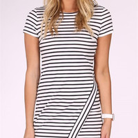 Kylie Dress Striped White & Black