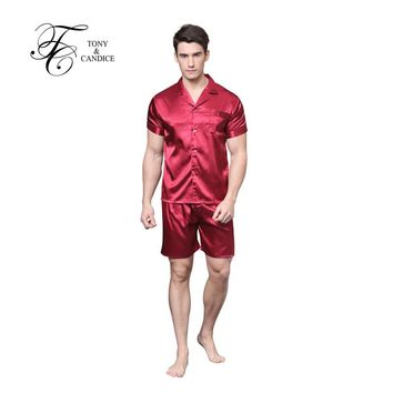 Men's Silk Pajamas Satin Sleepwear Short Sleeves Pajamas Set In Summer Soft Cozy Nightgown For Men pyjamas Casual Style M-XXL