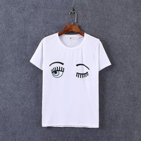 White Eye And Eyelash Print T-Shirt