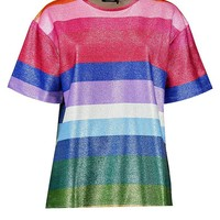 Rainbow Metallic Boyfriend T-Shirt | Boohoo