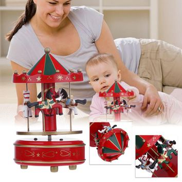 6 Style Vintage Wooden + Alloy Merry-Go-Round Carousel Music Box Kids Children Girls Christmas Wedding Birthday Gift Toy