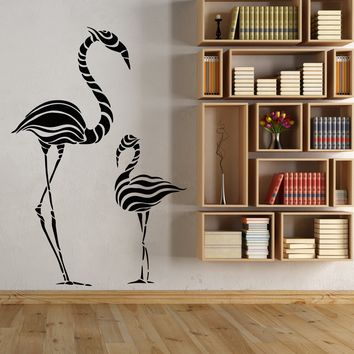 Vinyl Wall Decal Abstract Exotic Birds Flamingo Waves Stickers (2760ig)