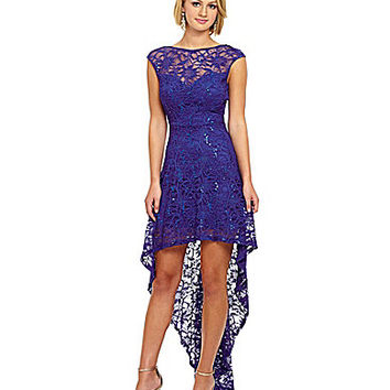 B. Darlin Hi-Low Open Back Lace Dress - Royal