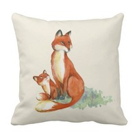 Momma Fox and Baby Watercolor Illustration Throw Pillow