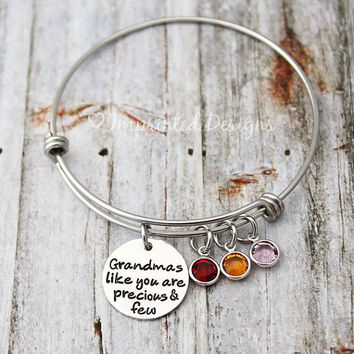 Charm Bracelet - Grandmas Like You Are Precious And Few - Grandma - Mom - Mimi - Gigi - Personalized - Grandmother - Adjustable - Birthstone