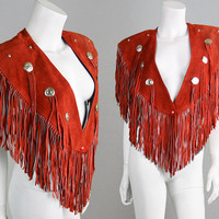 Vintage 80s Red Suede Fringe Suede Cape Womens Shawl Western Jacket Cowboy Jacket Fringe Poncho Hippie Cape Festival Jacket 1980s Capelet