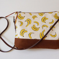 Crossbody bag Bananas print canvas,clutch purse,small crossbody,leather strap,sling bag