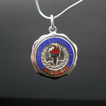 University Of Southern Colorado Pueblo 1933 School Charm Or Pendant Sterling Silver 925 Enamel Lindor Sterling