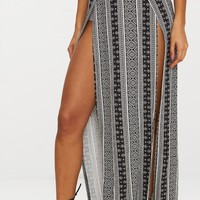 Black Festival Print Double Split Maxi Skirt