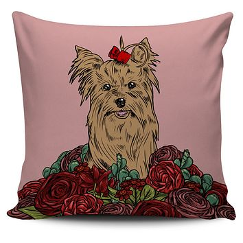 Illustrated Yorkie Terrier Pillow Cover