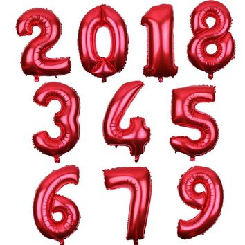 July Forest 30 Inch Red Art Number Balloon Happy Birthday Balloon Birthday Party Decoration Kids Boy Girl Party Ballon Number