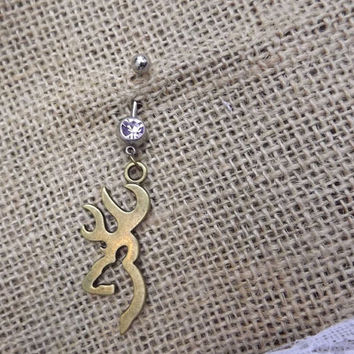 large Browning deer belly button ring, bronze browning deer, country jewelry, redneck, wedding gift, western ammo chic, camo hunter jewelry