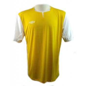Umbro Mens Yellow Short Sleeve Football Soccer Jersey Uniform Activewear Sz L