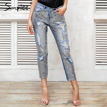Simplee Sequin hole blue jeans women bottom Streetwear zipper fringe ripped jeans pants 2018 Spring trousers loose female denim