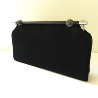 60's COCKTAIL CLUTCH - Black Matte Satin / Silver Roses / Intricate Detailing / Wedding / Prom / Mid - Century