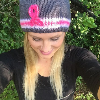 Breast Cancer Awareness Knit Hat - Pink Stripe - Breast Cancer Awareness Ribbon Hat - Gray
