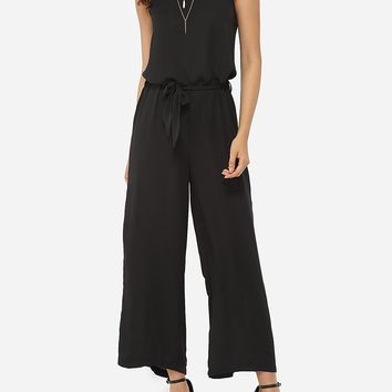 Casual Loose Fitting Chiffon Plain Jumpsuits