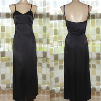 Vintage 30s Inky Black Liquid Satin Bias Harlow Gown Formal Cocktail Dress Gatsby S/ XS
