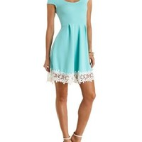 Floral Crochet-Trimmed Skater Dress by Charlotte Russe - Green