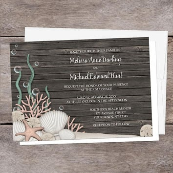 Rustic Beach Wedding Invitations - Seashells Sand and Brown Wood Background design - Printed Beach Invitations
