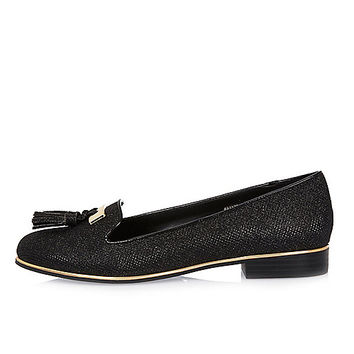 Black metallic tassel loafers - flat shoes - shoes / boots - women