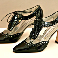 Black and Clear Patent Leather High Heel Lace Tie Shoes