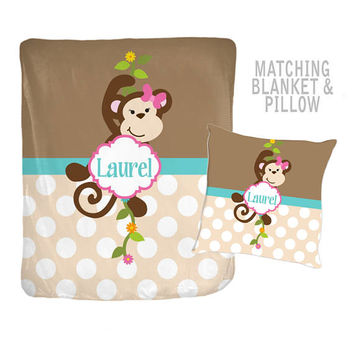 GIRL MONKEY Blanket - Monkey Pillow - Blanket Pillow Set -Girl MONOGRAM Blanket - Velveteen - Personalized Nursery Blanket -Girl Shower Gift