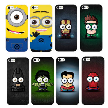 2016 Cute Comics Cartoon Super Hero Superman Iron Batman Spider man Hulk Minions PC Hard Case Cover For iPhone 4 4S 5 5S SE