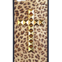 Leopard Gold Studded Cross iPhone 5/5s Case