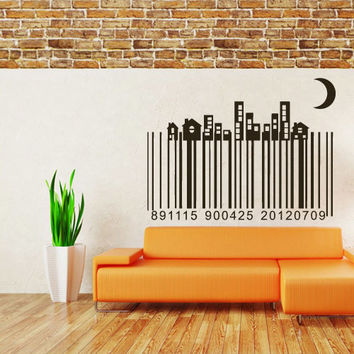 Wall Vinyl Sticker Decals Decor Art Bedroom Design Mural Barcode Code Town City Skyline (z1046)