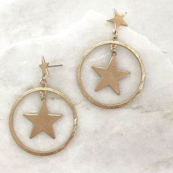 Gold Star & Hoop Earrings