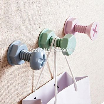 1Pcs Storage Hook Kitchen Screw Shape Wall Bathroom Self Adhesive Stick On Wall Door Tile Towel Hanger Holder Hooks &1011