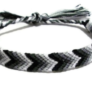 Grey Ombre Gradient Chevron Pattern Embroidery Friendship Bracelet