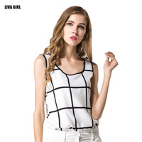 Summer Women Tanks Casual Fitness Sleeveless Loose Tank Top T-shirt Fashion Feminina Plaid Chiffon Blusa