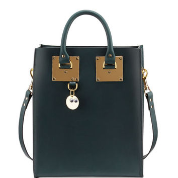 Sophie Hulme Mini Buckled Leather Tote Bag, Forest Green