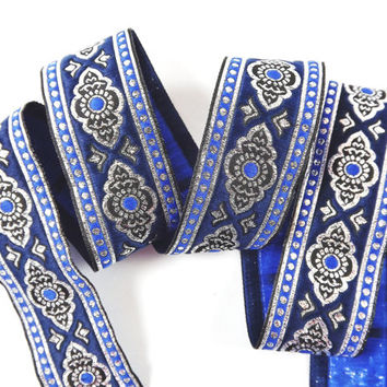 Exotic Ethnic Navy Blue Silver Woven Embroidered Jacquard Trim Ribbon - 1 Meter or 3.3 Feet or 1.09 Yards