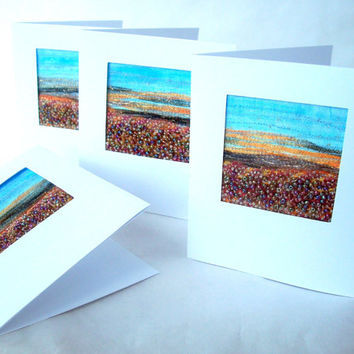Autumn landscape - stitched beaded card - fabric art card - fabric landscape - handmade card