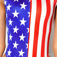 Womens Swimwear Sexy Thong One Piece Swimsuit American Flag Printing Bathing Suit Lady Bodysuit Bikini