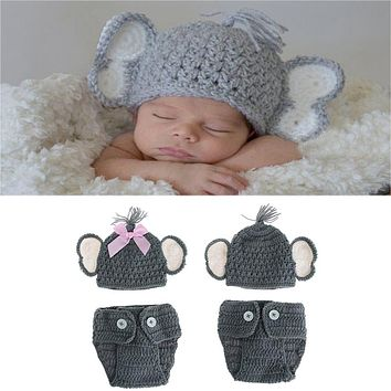 Abacaxi Kids Newborn Knit Crochet Baby Elephant Hat Costume