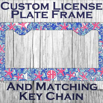 Custom Monogrammed personalized license plate frame. Lily Pulitzer inspired She She Shell Vanity car tag frame. Gifts under 20 #1072