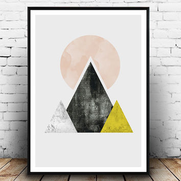 Mountain print, triangles print, scandinavian art, watercolor abstract, pink and yellow, geometric wall art, simple decor, modern art,