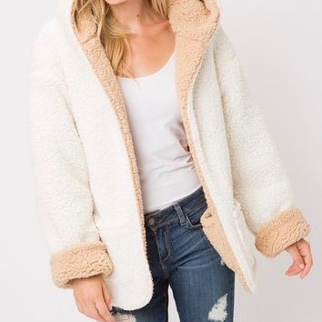 Reversible Soft Sherpa Open Front Jacket Hoodie - Ivory/Taupe