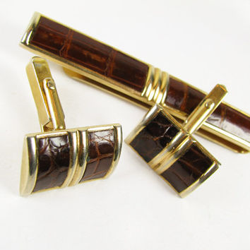 Vintage Cufflink and Tie Clip Set in Faux Alligator Leather, Swank, Mad Men / Vintage Wedding Cufflink Set - Boutons de Manchette.