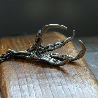Raven Claw Necklace in Solid White Bronze