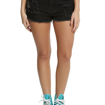 Blackheart Black Distressed Patch Shorts