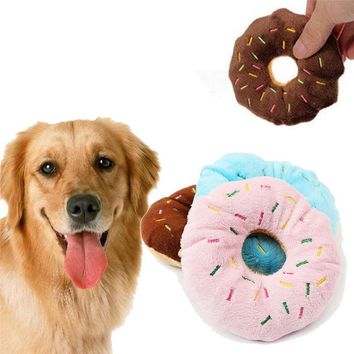 Lovely Pet Dog Puppy Cat Squeaker Quack Sound Toy Chew Donut Play Toys